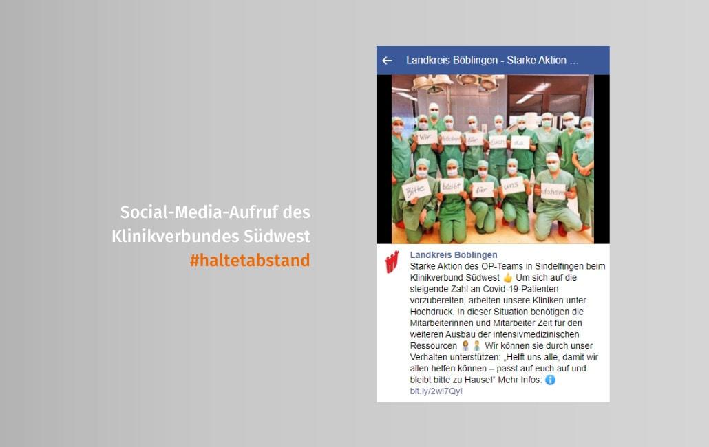 Social-Media-Aufruf des Klinikverbundes Südwest #haltetabstand