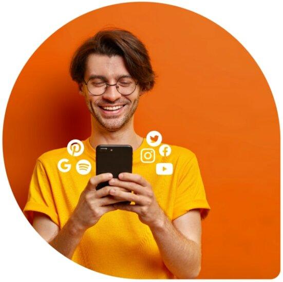 Performance Marketing Social Media Icons Typ